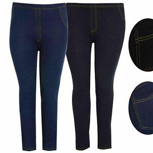 Ladies Womens Stretchy Denim Look Skinny Jeggings Leggings Plus Size Small-5XL