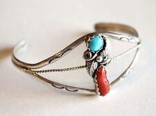 Vintage Sterling Silver Turquoise Coral Bracelet Etched