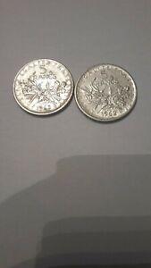 2 pieces semeuse de 5 francs argent 1962  1963 ttb