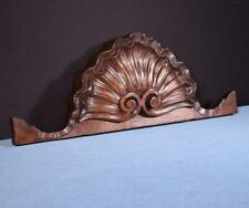 """*21"""" French Antique Hand Carved Pediment/Crest in Walnut Wood Shell Salvage"""