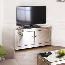 Venetian Mirrored Glass Corner TV Unit -2 Door Media Storage Cabinet Stand TFM12