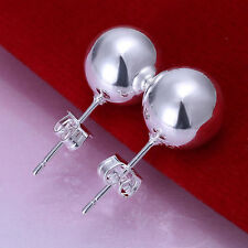 Silver Plated Pair Of Heavy Ball Stud Earrings.Womens Round 925 Sterling