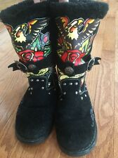 Don Ed Hardy Fur Boots SIZE 7 Black In GREAT CONDITION