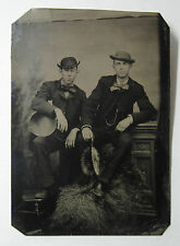 SUPER Tintype Photo  - Two Dandy Gay Folk Musicians Tambourine Cymbals 1870s