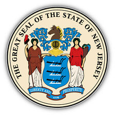 New Jersey State Great Seal USA Car Bumper Sticker Decal 5'' x 5''