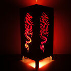 Asian Oriental Red Japanese Dragon Bedside Floor or Table Lamp Lighting Shades