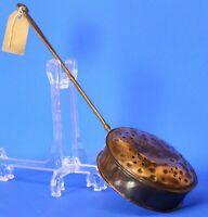Antique Vintage brass/copper chestnut roaster, L:44cm *[19051]