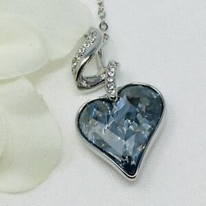 Made With Swarovski® Crystals Sparkly Crystal Heart Silver Blue Pendent Necklace