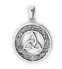 Sterling Silver CELTIC TRIAD Pendant Trinity w Knotwork 925 Charm Jewelry