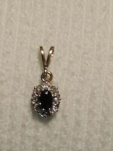 9ct Gold Sapphire & Diamond Pendant