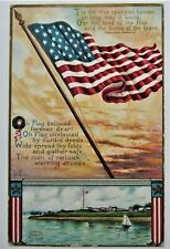 Patriotic Beloved FLAG Embossed Postcard Gold