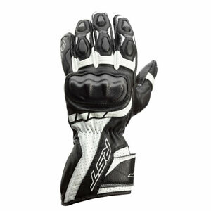 RST Axis CE Moto Motorcycle Motorbike Leather Gloves Black / White