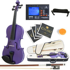 Mendini Full Size 4/4 Acoustic Violin Metallic Purple Solidwood +Tuner
