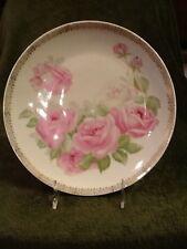 Bavaria 9-1/2 in Pink Rose Plate Floral Porcelain Vintage