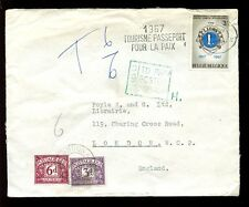 POSTAGE DUE GB 6d + 3d 1967 from BELGIUM to FOYLES LONDON