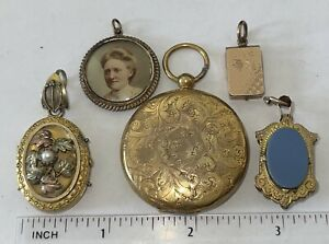 Antique Victorian Gold Filled Locket Watch Fob Lot