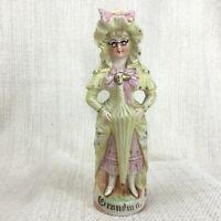 Antico Tedesco Bisque Statuina di Porcellana Nonna Dipinto a Mano 19th Secolo