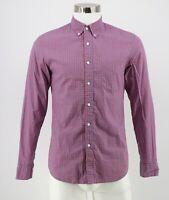 J Crew Secret Wash Slim Fit Button Down Shirt Small Red Blue Gingham Cotton Mens