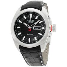 Alpina Nightlife Club Black Dial Leather Strap Men's Watch AL242B4RC6
