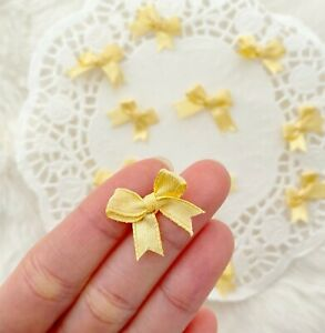 Tiny Gold Bows Mini Satin Bows Embellishment Applique Sewing Craft Bows Fabric