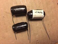 3 Brown Drop .1 uf 600v Capacitors Vintage ElMenco Black Guitar Tone Caps Nos?
