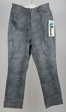 Lucid Ltd. Leather Pants Black and Gray Snake Print Size 11. NWT. Inseam 29