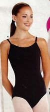 NEW CAMISOLE LEOTARD Cotton Spandex rounded v back Black or Pink child/ladies sz