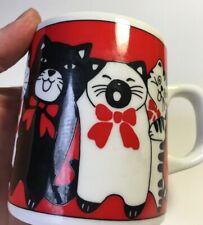 Vintage Exotics U.S.A. cat mug cup red black white ceramic red bow rare