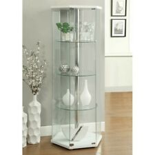 Coaster Glass Hexagonal Curio Cabinet in White and Chrome