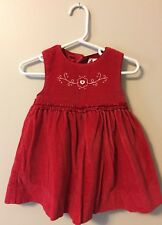 Baby Gap 6-12 Month Dress Red Velour Sleeveless No Bloomers