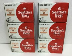 Seattle's Best Coffee Toasted Hazelnut K-Cups, Case of 6 Boxes, 60 Pods Exp 7/21