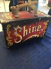 VINTAGE 5 CENT WOODEN & METAL SHOE SHINE BOX CARNIVAL DESIGN