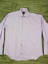 David Donahue Men's Long Sleeve French Cuffs Dress Shirt Checks sz 16.5 34/35