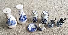 LOT Delft BLUE Holland Dutch Porcelain Windmill Salt & Pepper set MINI TEA CUP