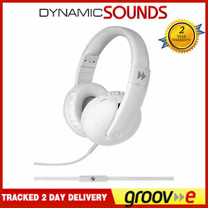 Groov-e Classic Studio Over Ear Headphones with Remote Mic - White