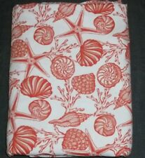 COASTAL COLLECTION TABLECLOTH WHITE CORAL ORANGE SHELLS TROPICAL 60X108 BEACH