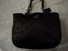 RARE Coach 15746 Mia Signature OP Art Lurex Shoulder Bag Tote Black Barely Used