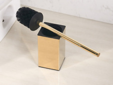 Free Standing Home Bathroom Toilet  Brush Set Cleaning Kit Stainless Steel Gold