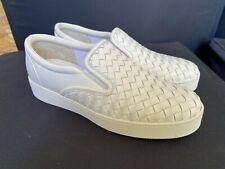 Bottega Veneta Dodger White Intrecciato Leather Slip On Sneakers Size 38-39