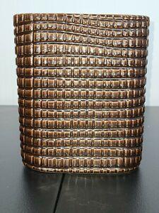Crate & Barrel 'B. Eigen' Brown Glazed Ceramic Textured Grid-Pattern Vase