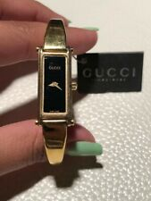 Gold Gucci Horsebit Bangle Female Watch with Black Face (Pre-Owned) With Tags