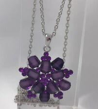 Snowflake Flower Purple Stone Acrylic . Necklace Silver Plt Pendant A133