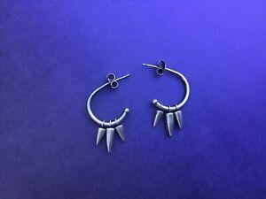 Modernist Sterling 925 Pierced Earrings Spike BANANA REPUBLIC