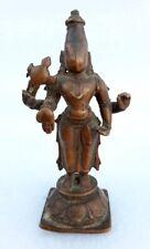 1850's Antique Old Rare Bronze Hindu God Vaishnav Vishnu Holy Statue Rich Patina