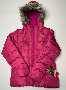 New The North Face Girls Gotham Jacket Down Coat Hooded Parka Pink Large $180