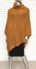 Women's Turtleneck Knit Sweater Cape OSFA fringe Jacket
