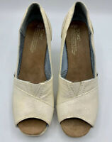 Toms Sparkle Open Peep Toe Wedge Heel Women's Sz 7.5 White Ivory