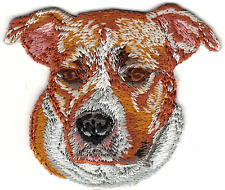 "2"" x 2 3/8"" Staffordshire Bull Terrier Portrait Dog Breed Embroidery Patch"