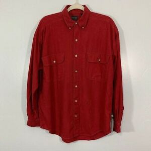 Vintage Structure Silk Red Textured Long Sleeve Brown Button Up Men's Shirt