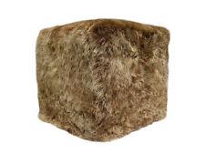 Pouf cubo imbottito e rivestito in vera pelle di pecora - agnello sfoderabile